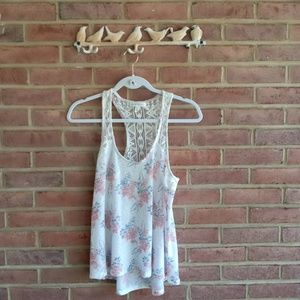 Aeropostale Floral and Lace Tank Top